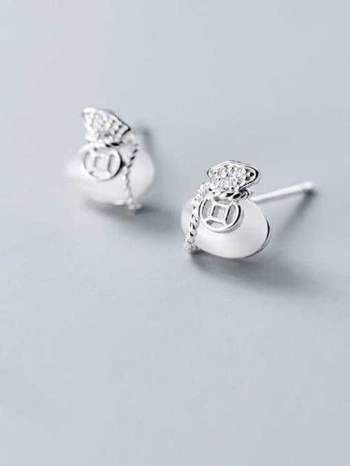 Rosh 925 Sterling Silver Cats Eye White Irregular Classic Stud Earring 2