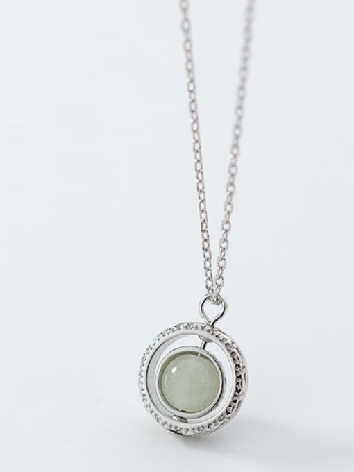 Rosh 925 Sterling Silver Simple Fashion Round Luminous Stone Pendant Necklace 1