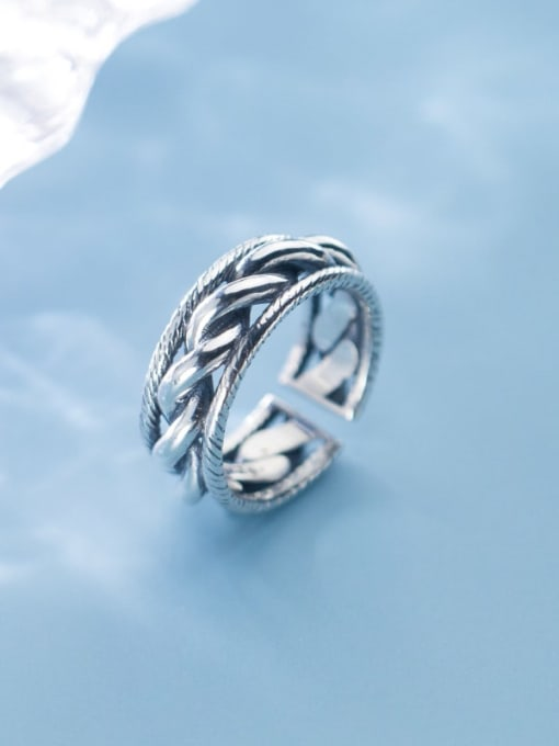 Rosh 925 Sterling Silver  Retro twist multilayer  Free Size Ring 2