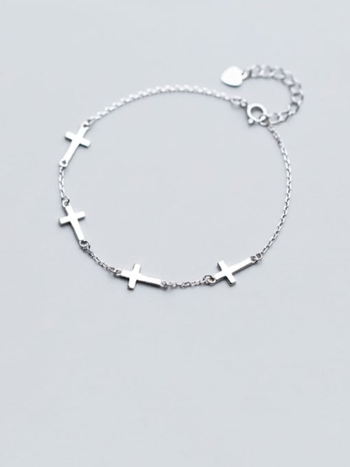 Rosh 925 Sterling Silver Smooth Cross Minimalist Link Bracelet