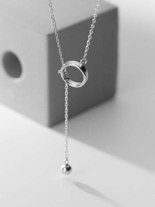 Rosh 925 Sterling Silver Hollow Round Minimalist Tassel  Necklace 2
