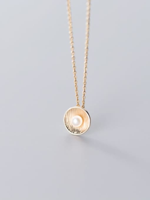 Rosh 925 Sterling Silver Imitation Pearl Round Pendant Necklace 3