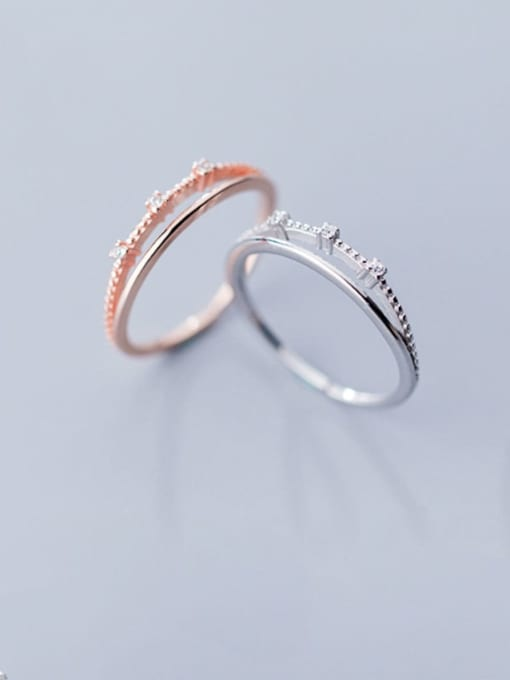 Rosh 925 Sterling Silver  Minimalist  Double-layer diamond Band Ring 2