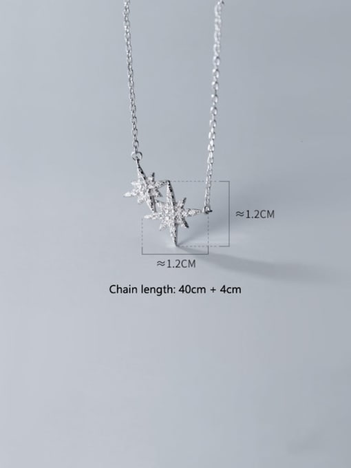 Rosh 925 Sterling Silver Cubic Zirconia  Star  Necklace 3