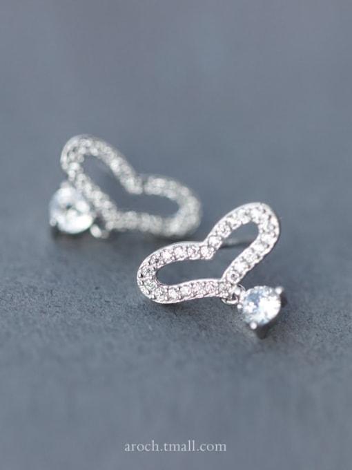 Rosh 925 Sterling Silver Rhinestone Holoow Heart Dainty Stud Earring