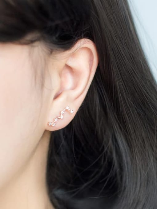 Rosh 925 Sterling Silver Cubic Zirconia  Star Classic Ear Climber Earring 2