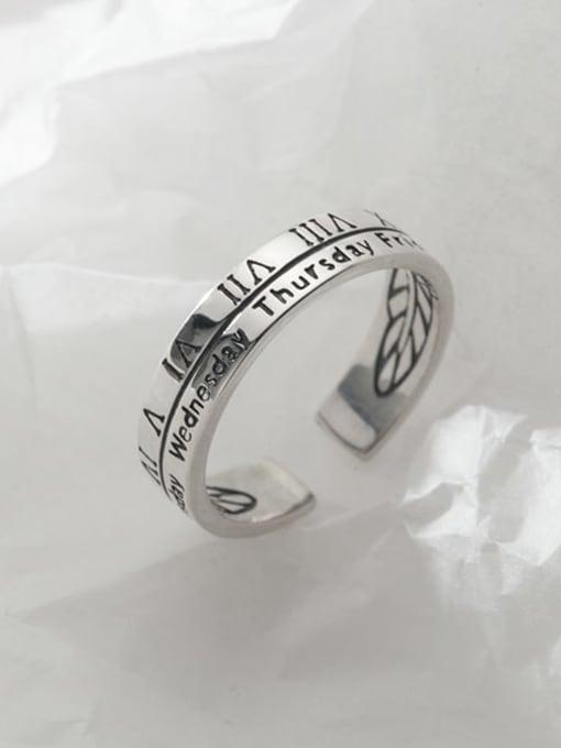Rosh 925 Sterling Silver Vintage Letter  Free Size Ring 2