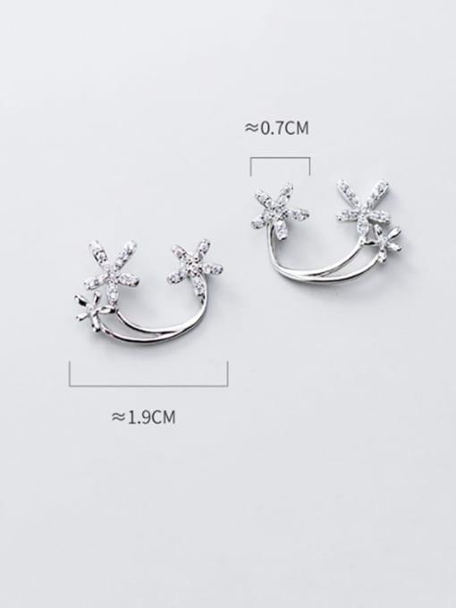 Rosh 925 Sterling Silver simple diamond multi flower Dainty Stud Earring 3
