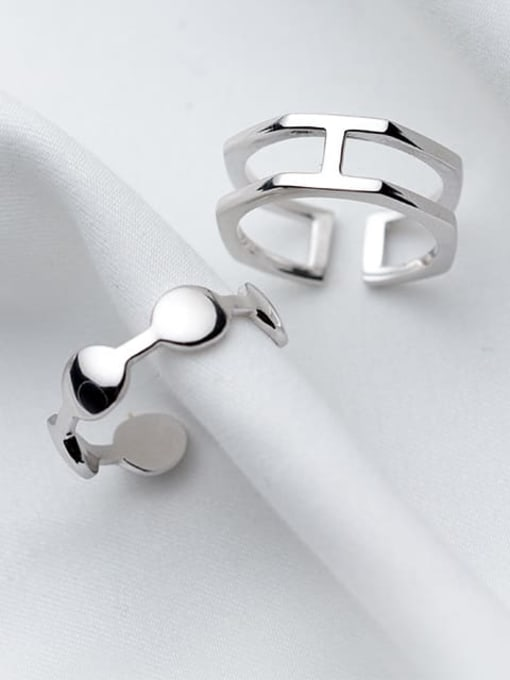 Rosh 925 Sterling Silver Minimalist  Double Layer Free Size Ring 2