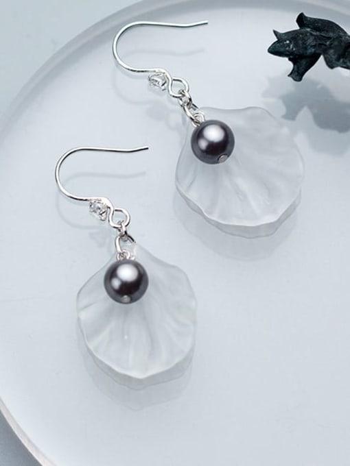 Rosh 925 Sterling Silver Acrylic Flower Minimalist Hook Earring 3