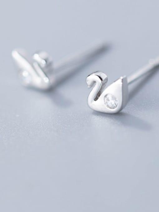 Rosh 925 Sterling Silver Swan Minimalist Stud Earring 0