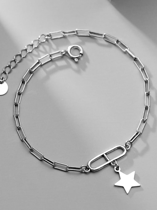 Rosh 925 Sterling Silver Personality oval buckle five-pointed star  Link Bracelet 2