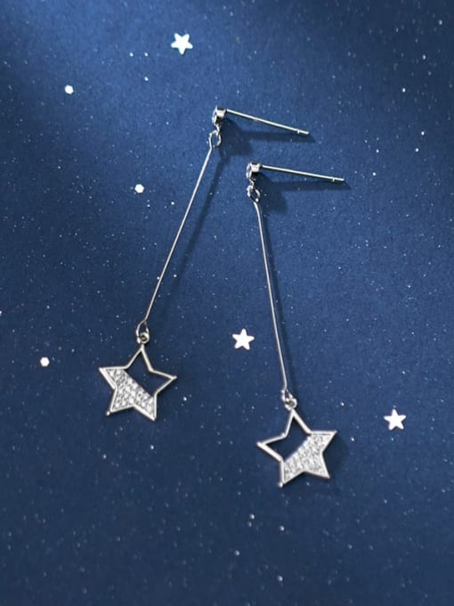 Rosh 925 Sterling Silver Star Minimalist   Threader Earring 1