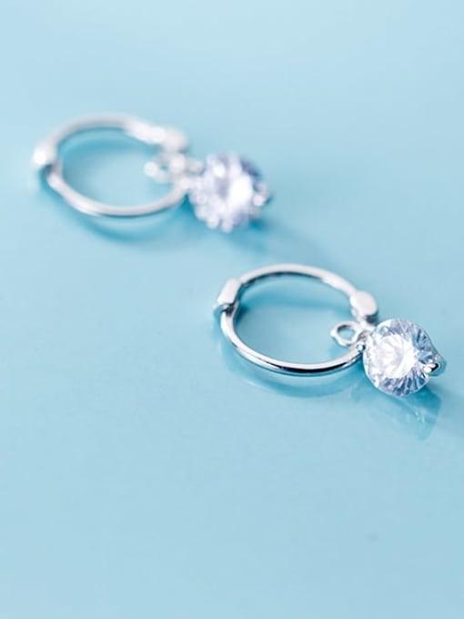 Rosh 925 Sterling Silver Cubic Zirconia Round Minimalist Huggie Earring 0
