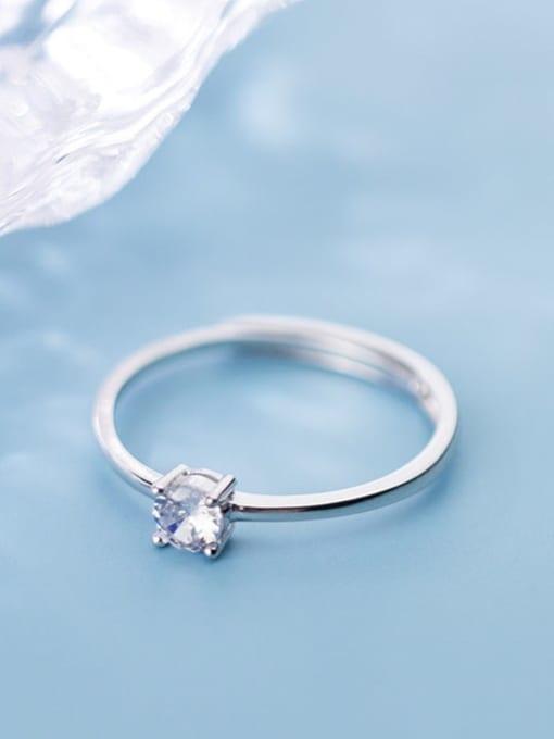 Rosh 925 Sterling Silver Rhinestone  Round Minimalist Free Size Ring 2