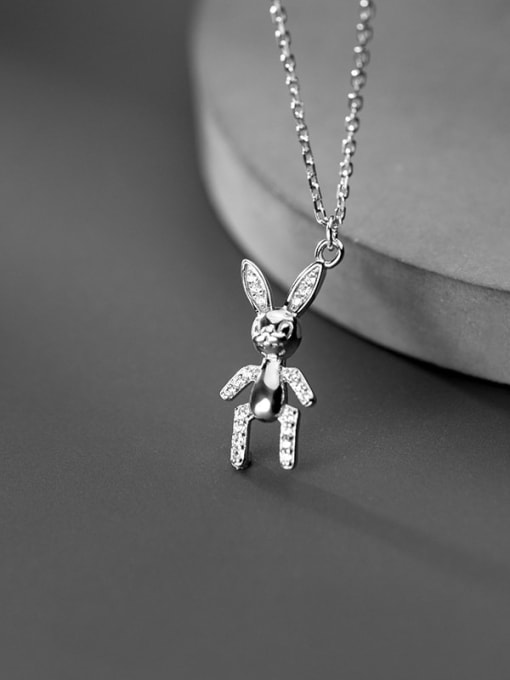 Rosh 925 Sterling Silver Cute doll rabbit Pendant Necklace 2