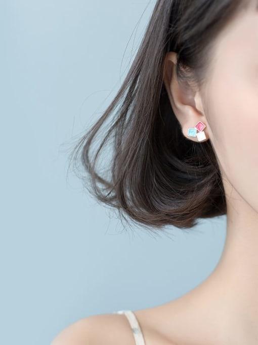 Rosh 925 Sterling Silver Multi Color Enamel Square Minimalist Stud Earring 1