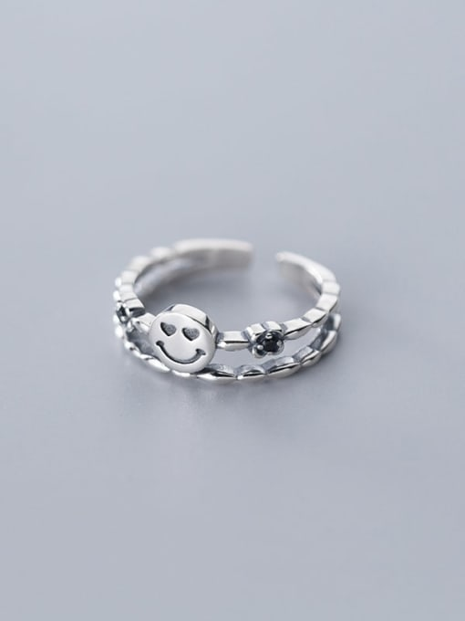 Rosh 925 Sterling Silver  Vintage  double smile Stackable Ring 2
