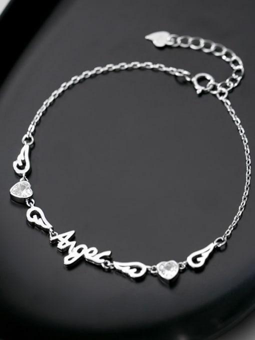 Rosh 925 Sterling Silver Cubic Zirconia  Letter Minimalist Bracelet 2