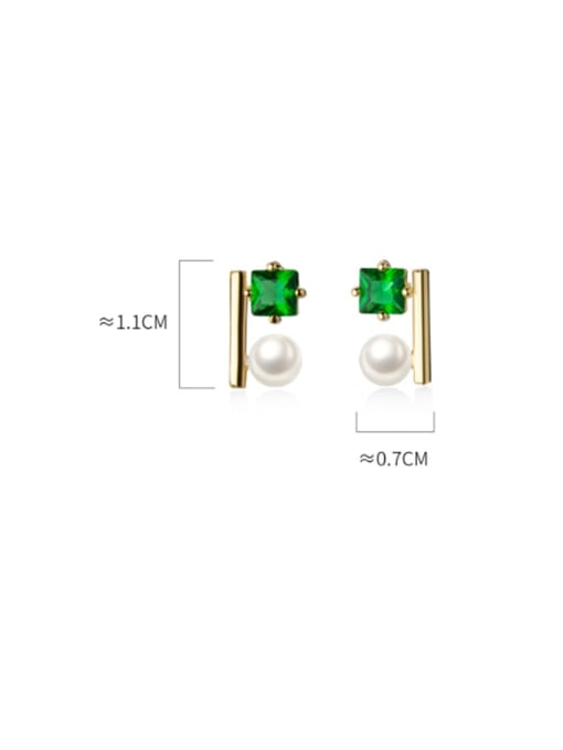 Rosh 925 Sterling Silver Cubic Zirconia Green Square Minimalist Stud Earring 4