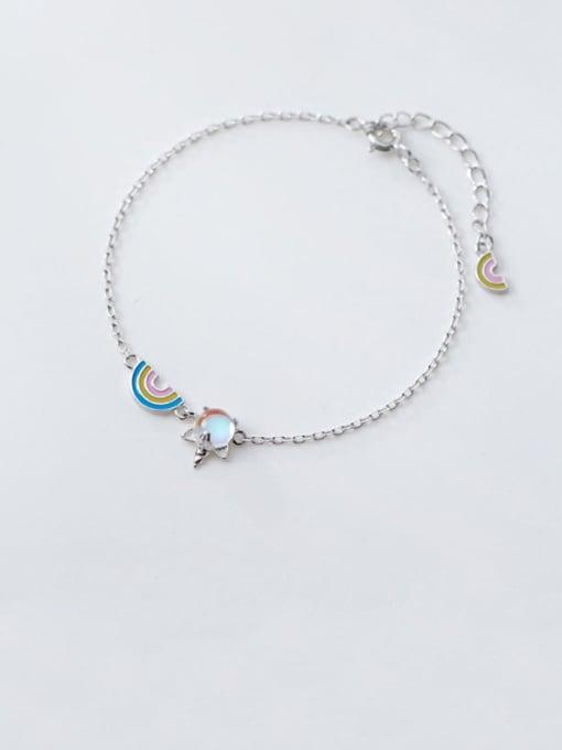 Rosh 925 Sterling Silver Multi Color Rainbow Minimalist Link Bracelet 0