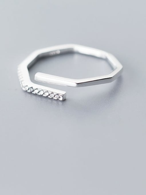 Rosh 925 Sterling Silver Rhinestone  Irregular Minimalist Free Size Ring 1