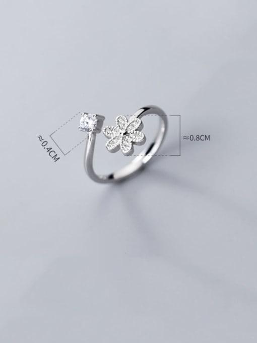 Rosh 925 sterling silver cubic zirconia  flower minimalist free size ring 2