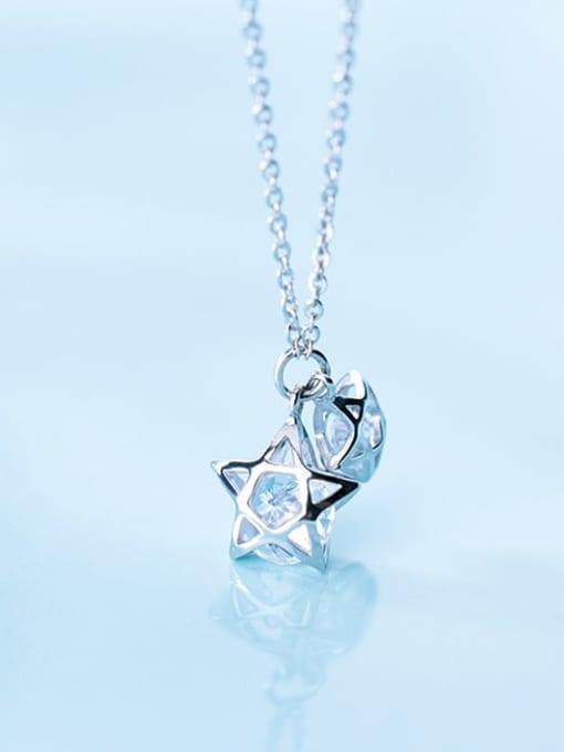 Rosh 925 Sterling Silver Cubic Zirconia simple multi diamond Pentagram fashion hollow Necklace