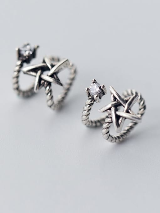 Rosh 925 Sterling Silver Retro thread double layer Pentagram Ear clip without pierced ears 2