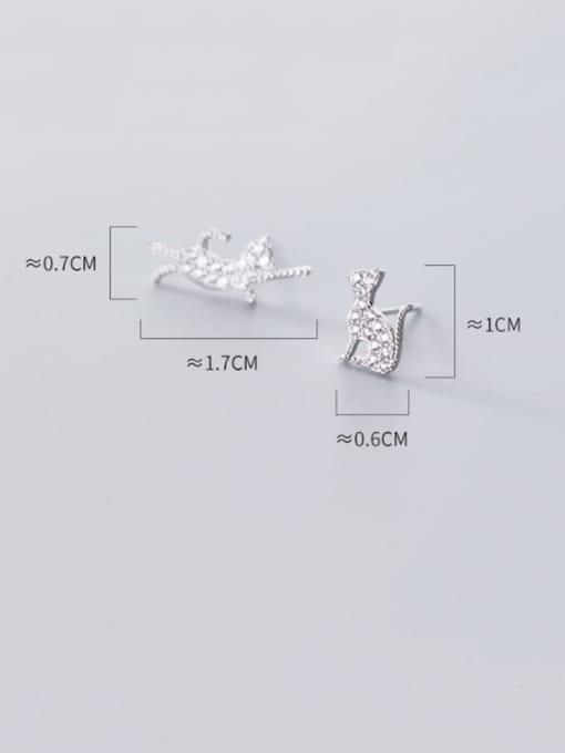 Rosh 925 Sterling Silver Cubic Zirconia Cat Cute Stud Earring 3