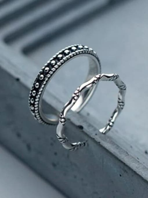 Rosh 925 Sterling Silver Vintage knot Free Size Midi Ring 3