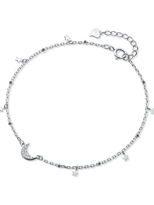 Rosh 925 Sterling Silver  Minimalist  Star Moon Link Bracelet 3