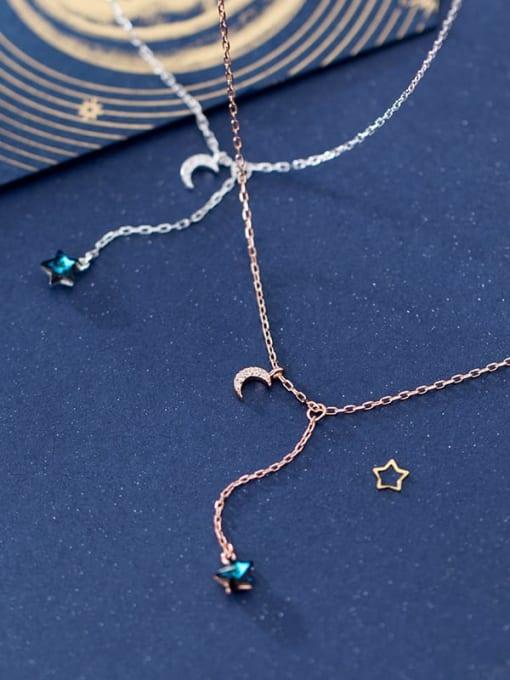 Rosh 925 Sterling Silver Rhinestone  Star Minimalist Lariat Necklace 1