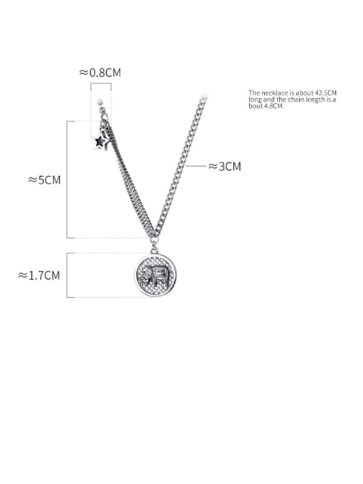 Rosh 925 Sterling Silver Fashion simple word smile elephant Necklace 4