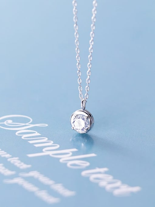 Rosh 925 Sterling Silver Cubic Zirconia round pendant  Necklace 1