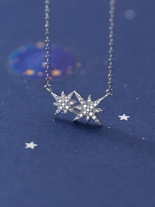 Rosh 925 Sterling Silver Cubic Zirconia  Star  Necklace 0