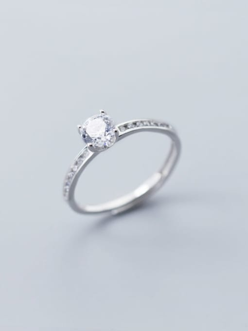 Rosh 925 Sterling Silver Cubic Zirconia Round Minimalist Free Size Ring 1