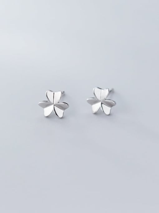 Rosh 925 Sterling Silver Smooth Flower Minimalist Stud Earring 2
