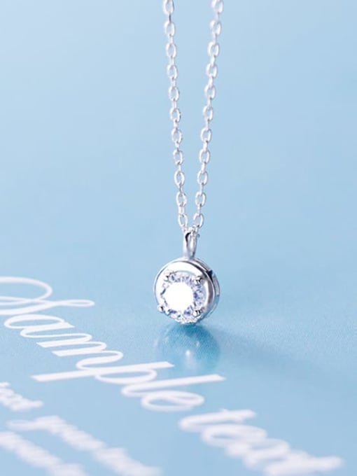 Rosh 925 Sterling Silver Cubic Zirconia round pendant  Necklace 0