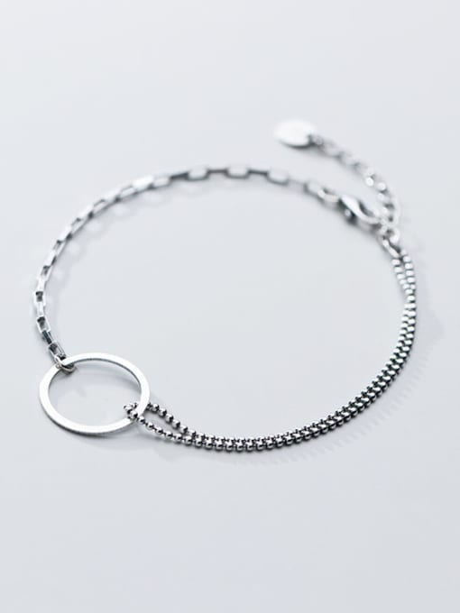 Rosh 925 Sterling Silver Simple Ring Personality Fashion Asymmetry  Link Bracelet 1