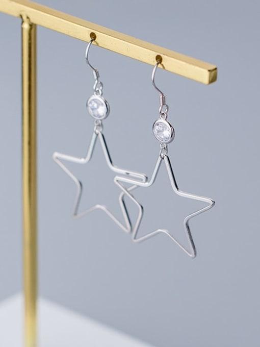 Rosh 925 Sterling Silver  Hollow Star Minimalist Hook Earring 2
