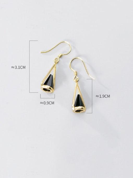 Rosh 925 Sterling Silver Black Acrylic Geometric Cone Trend Hook Earring 3