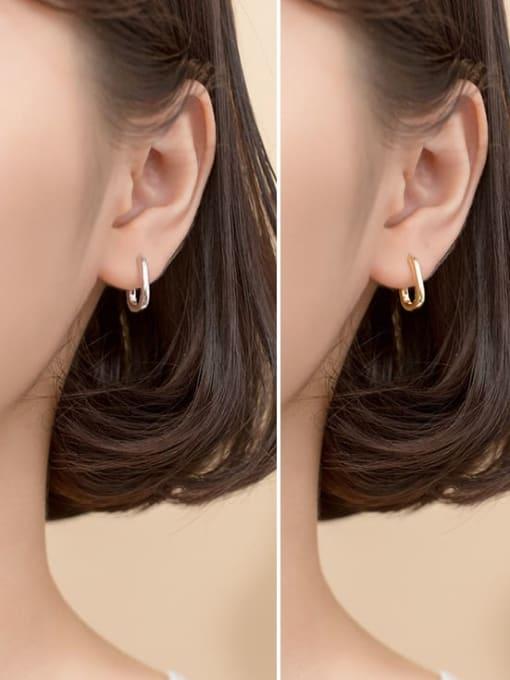 Rosh 925 Sterling Silver  Smooth Geometric Minimalist Huggie Earring 2