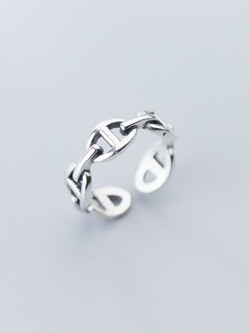 Rosh 925 Sterling Silver Retro Hollow Geometric Ethnic Free Size Ring