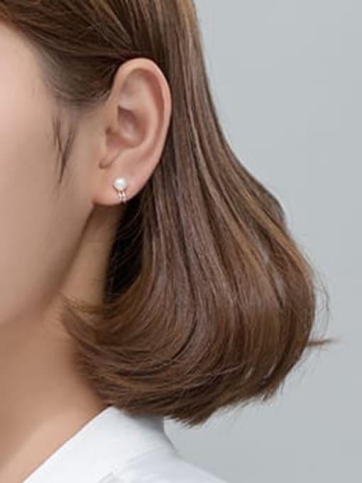 Rosh 925 Sterling Silver Imitation Pearl  Geometric Minimalist Clip Earring 1
