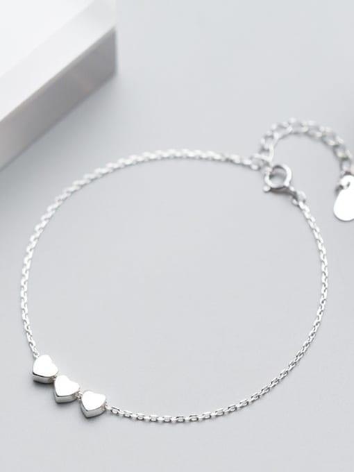 Rosh 925 Sterling Silver Smooth Heart Minimalist Link Bracelet 1