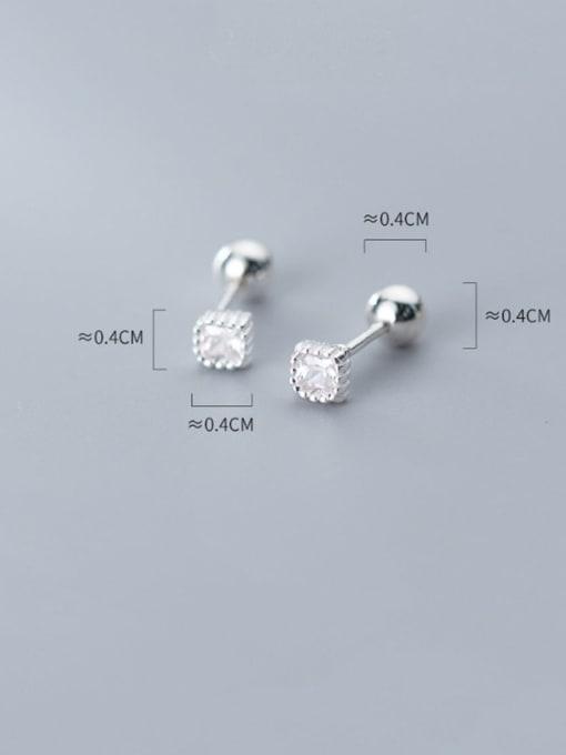 Rosh 925 Sterling Silver  Square Cubic Zirconia Minimalist Stud Earring 3