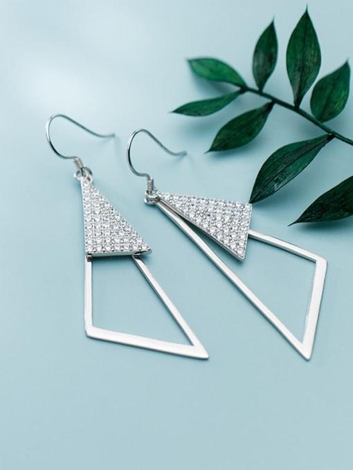 Rosh 925 Sterling Silver Rhinestone Triangle Minimalist Hook Earring 2