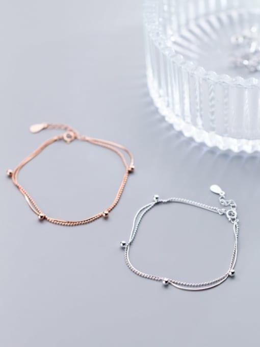 Rosh 925 Sterling Silver Round  bead Minimalist Link Bracelet 1