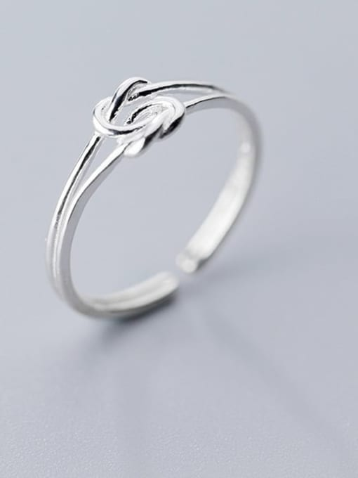 Rosh 925 Sterling Silver  Minimalist  Rope Knot Free Size Ring 1
